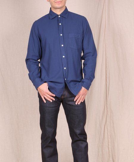Hartford-Garment Dyed Flannel Button Down top - INK