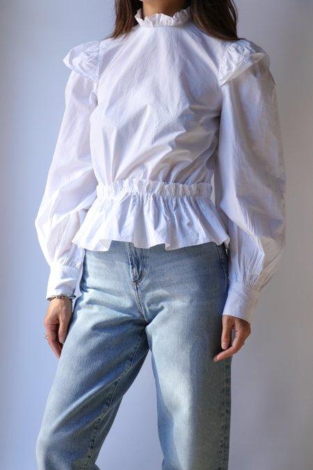 Ganni Cotton Poplin Cropped Blouse - Bright White
