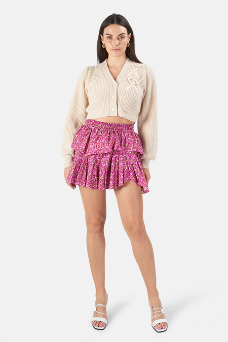 LoveShackFancy Ruffle Miniskirt - Cherry Wine