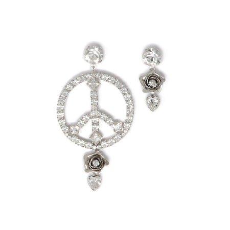 Joomi Lim Asymmetrical Crystal Peace Sign & Flower Earrings