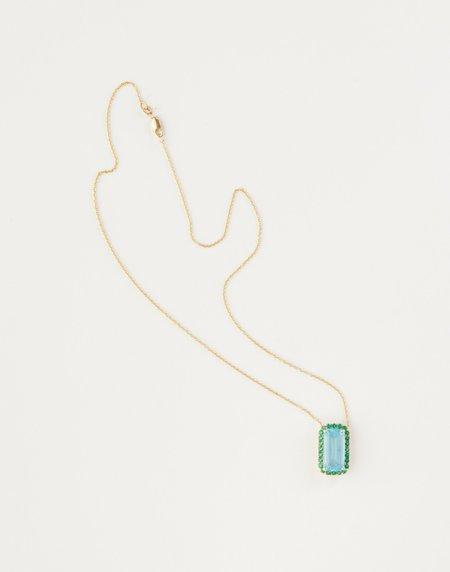 Jessica Farrugia London Blue Topaz with Green Crystal Pendant