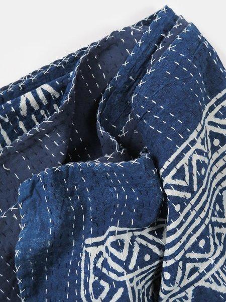 Erica Tanov printed hand stitched kantha quilt - indigo