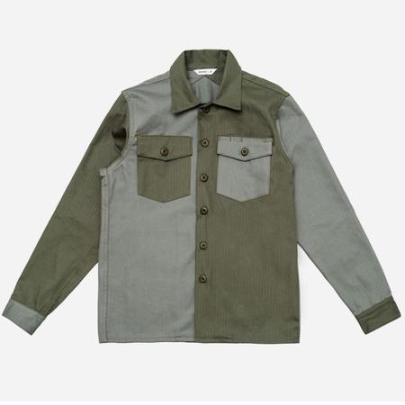 3Sixteen Fatigue Overshirt - Olive Block Herringbone
