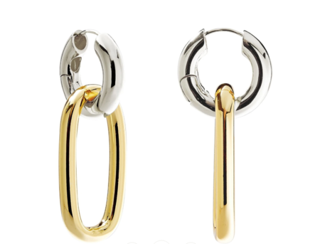 Machete Chunky Hoops - Silver/Gold Oval Link Charm