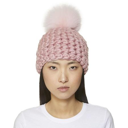 Mischa Lampert XL pom  pomster beanie - baby pink/dusty rose