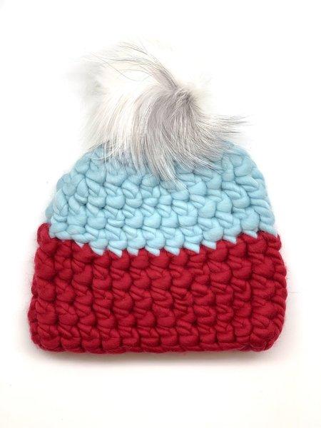 Kids Mischa Lampert XL pom color block beanie - cherry/ice/arctic white
