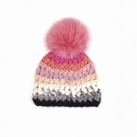 Mischa Lampert XL pom mod stripe beanie - Pink/red