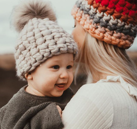 Kids Mischa Lampert beanie with xl pom - pewter/taupe