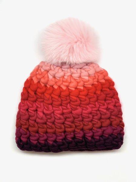 Kids Mischa Lampert  XL pom stripe beanie - baby pink/red