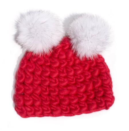 Kids Mischa Lampert XL poms mickey beanies  - Red/White
