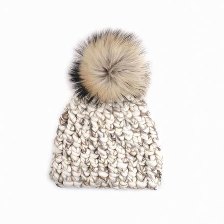 Mischa Lampert XL pom  blend raccoon beanie - White/marble/gold sparkle