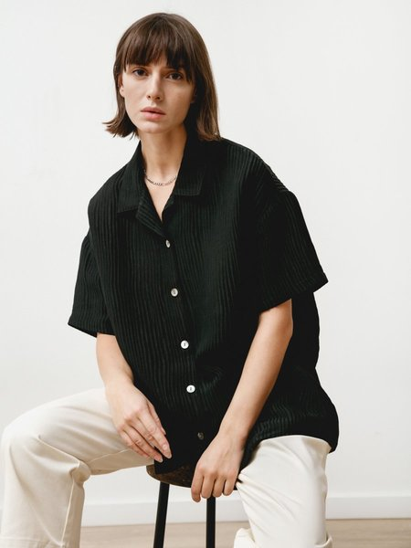 Priory Edition Silk Linen Shirt - Black
