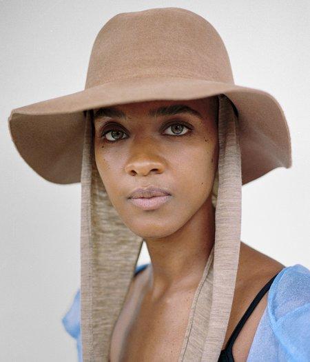 Clyde Aura Angora Hat WIth Neckshade - Camel