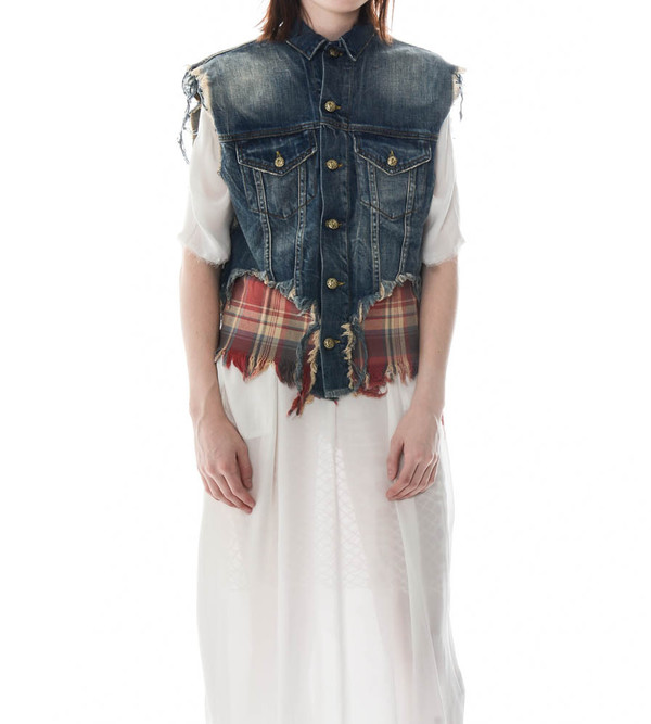 R13 Double Denim Vest with Plaid