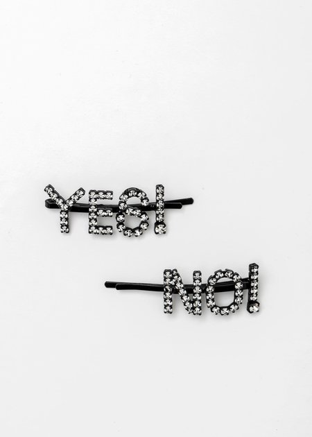 Ashley Williams Crystal 'Yes! No!' Hairpin - Clear