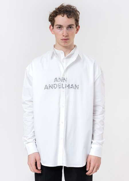 Ann Andelman Rhinestone Logo Shirt long sleeve - White