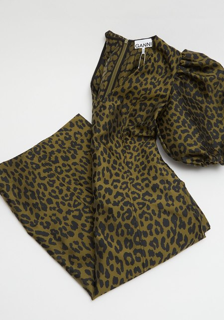 Ganni Crispy Jacquard V Neck Dress - Leopard