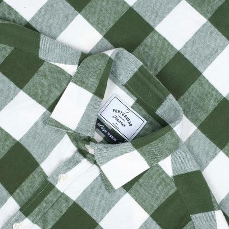 Portuguese Flannel Buffalo Square Check Flannel Shirt - Green