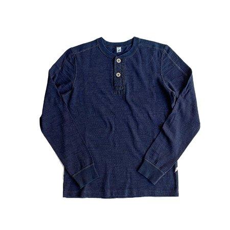 Pure Blue Japan Knitted Flat Seem Slub Jersey Henley LS - Indigo