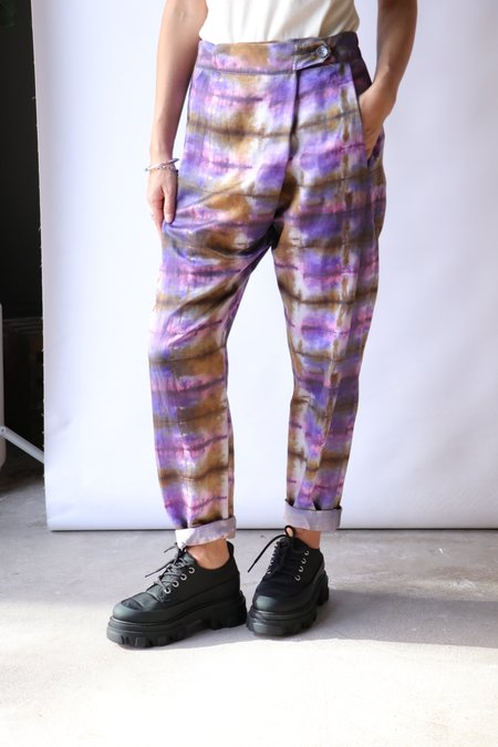 Raquel Allegra Front Flat Panel Pant - Plaid Print Tie Dye
