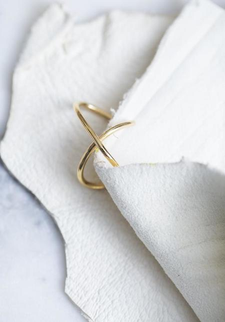 Saskia Diez Bold Wire Cross Ear Cuff - Gold Plated Sterling Silver