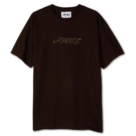 Awake NY Classic Outline Logo Tee shirt - Brown