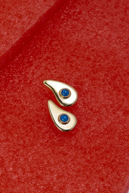 ARO Wavy Earrings - 24kt gold plated/Blue Onyx