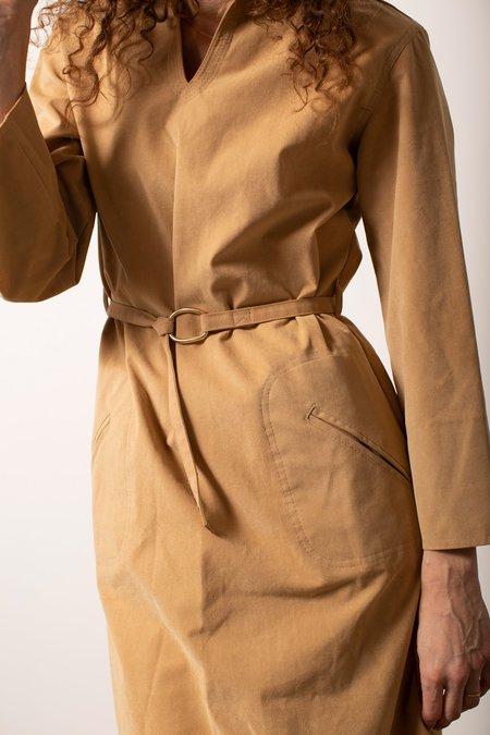 Vintage Faux Suede Dress - Tan
