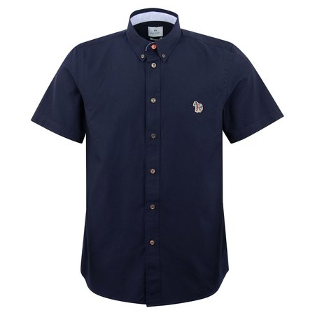 PAUL SMITH SS Tailored Fit Zebra Badge Shirt - Navy