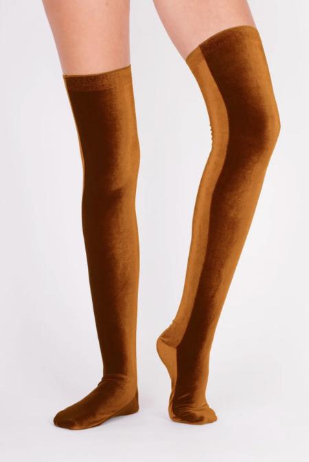 Simone Wild  Knee Socks - Gold Velvet