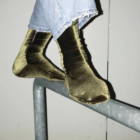 Simone Wild Velvet Knee Socks - Olive