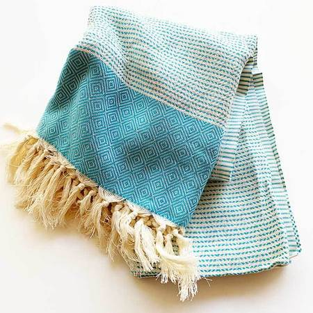 Rasim Coast Modern Turkish Towel Blanket - Blue