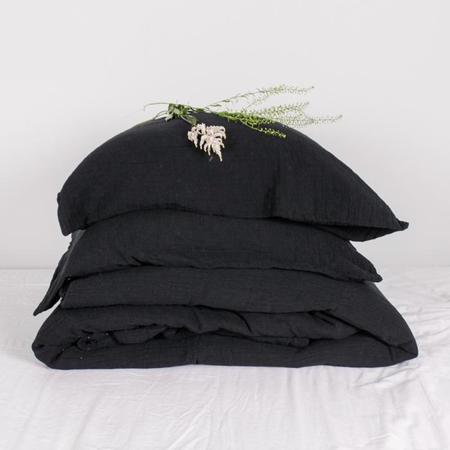 Autumn Paris Punto Linen Set Queen Bed Sheets - Black/White