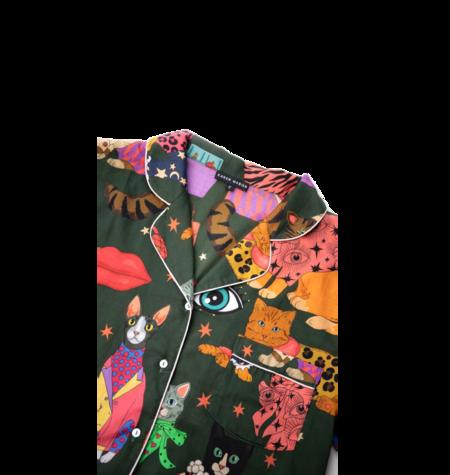 Karen Mabon Pajama Set - Fashion Cats Green