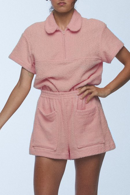 baaby Terry Towelling Zip Front Top - Dusty Rose