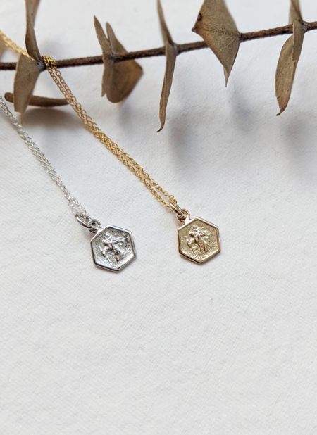 Little Gold St. Christopher Necklace - Sterling Silver