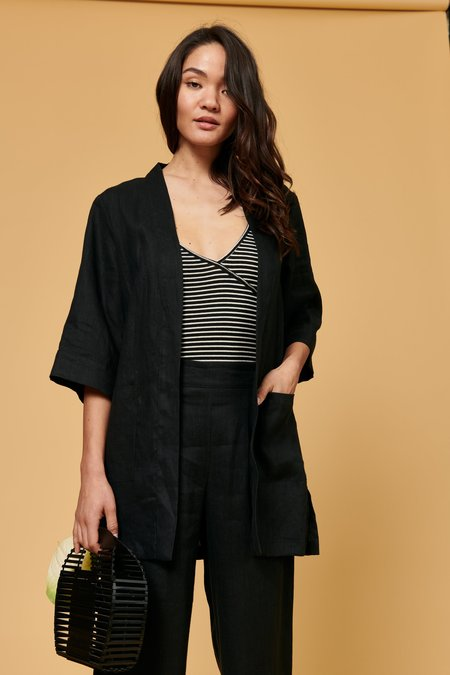 Whimsy + Row Frances Duster cardigan - Black Linen