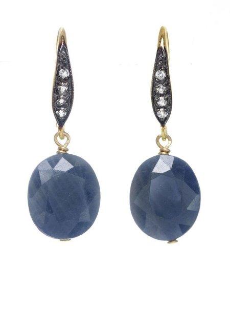 Rustic Red Cushion Cut Earrings - Blue Sapphire