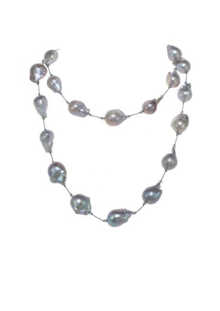 Margo Morrison Fifth Avenue Baroque Pearl Necklace - Grey