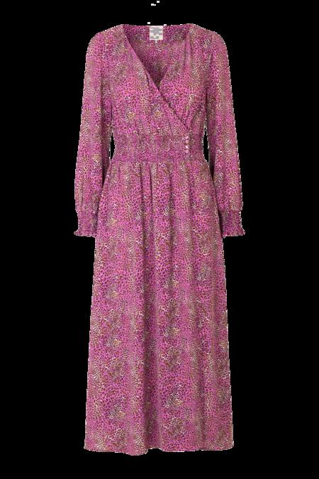 Baum und Pferdgarten Azia Long Sleeve Maxi Dress - Fuchsia Mini Leo