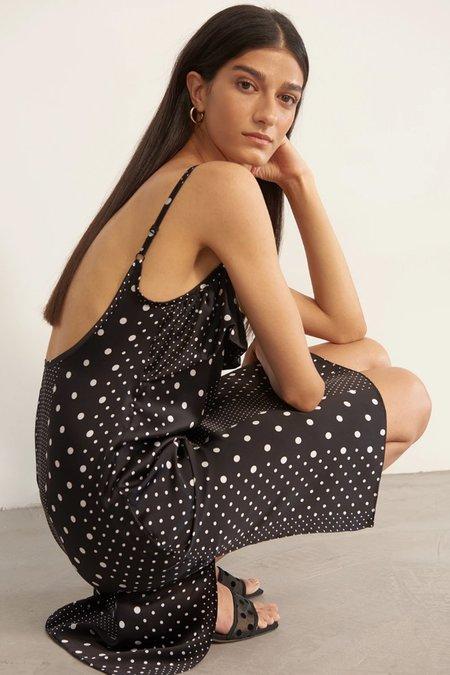 Else Polka Dot Slip Dress - Black/White