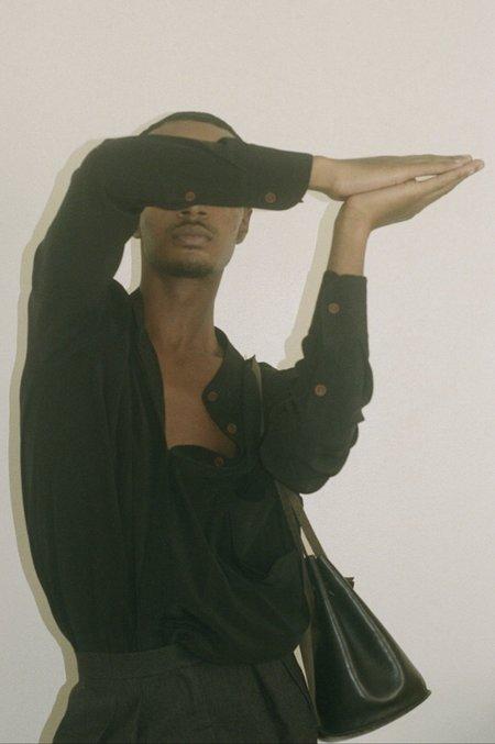 Vincetta Banded Collar Shirt - Black