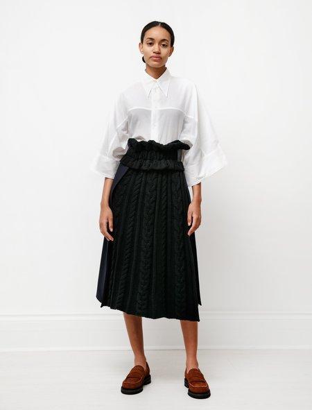 Hache Knit Combo Kilt skirt - Black/Navy