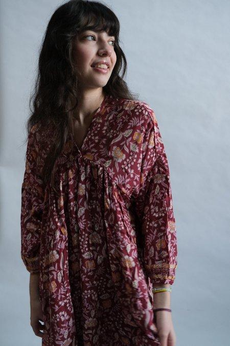 Natalie Martin Jemima Dress - Autumn Merlot Silk