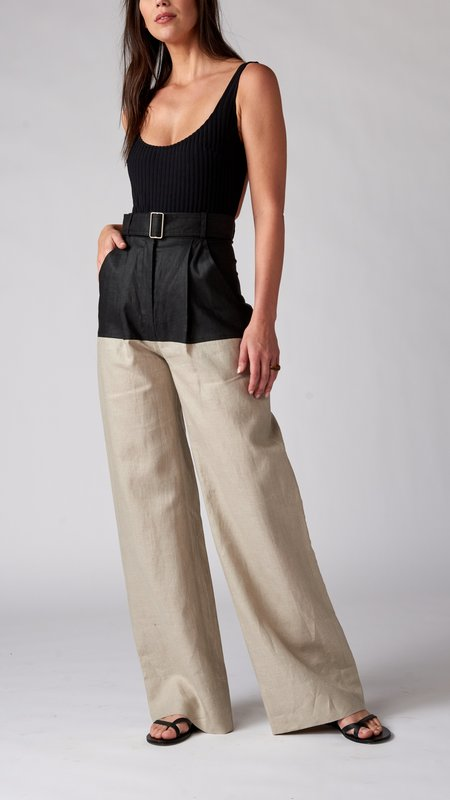 Matthew Bruch Colorblocked Straight Leg Pant - Black/Oatmeal