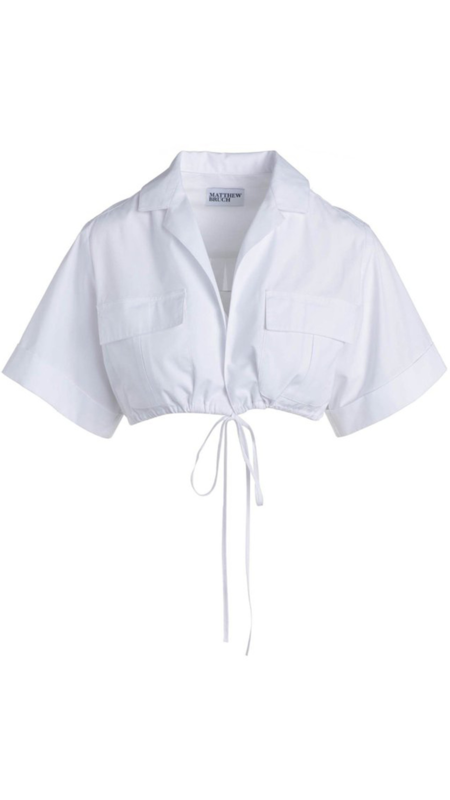 Matthew Bruch Cropped Safari Shirt - White