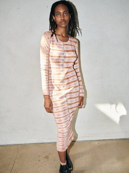 Raquel Allegra Tiger Jersey Long Sleeve Fitted Dress