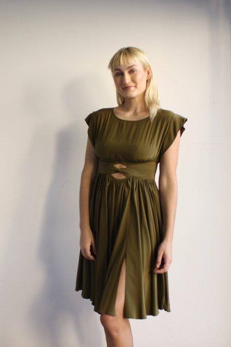 Vintage Mina Stone Silk Dress - Olive