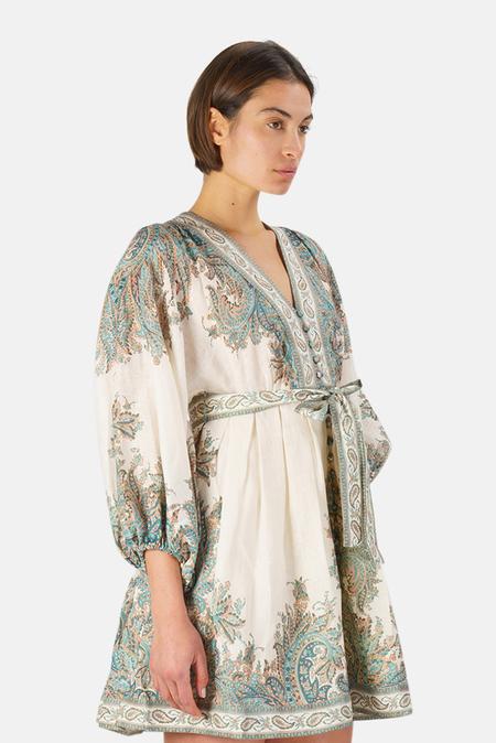 Zimmermann Brighton Mini Dress - Turqoise Paisley
