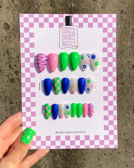 Rebecca Paints Nails Nail Press Ons - Ziggy Set